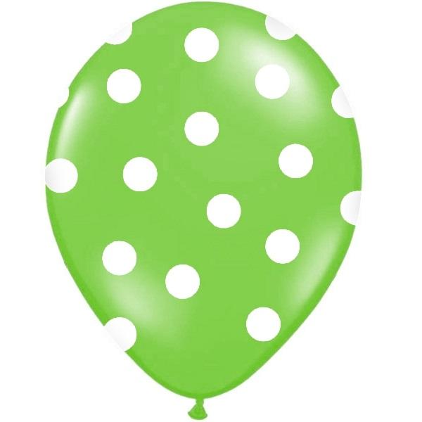 Conj. 6 Balões Bolinhas Verde Lima