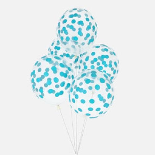 Conj. 5 Balões Confetis Impressos Azul