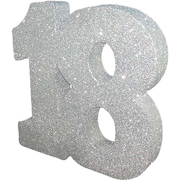 Decoração 18 Glitter Prateado