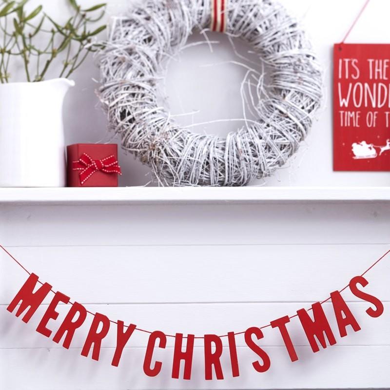 Grinalda Madeira Merry Christmas Vermelha