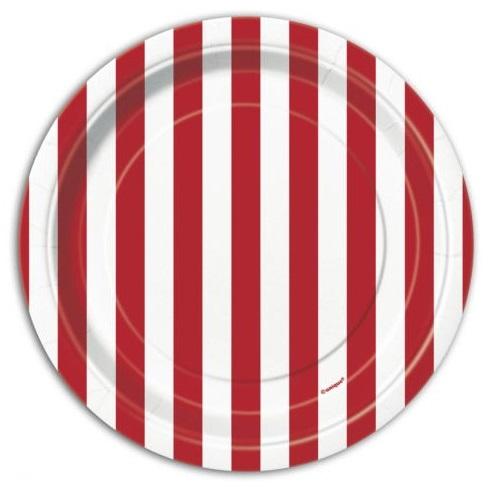 Pratos Vermelho Riscas Pequenos