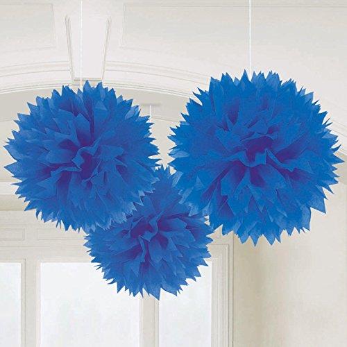 Conj. 3 Pompons Grandes Azul Escuro