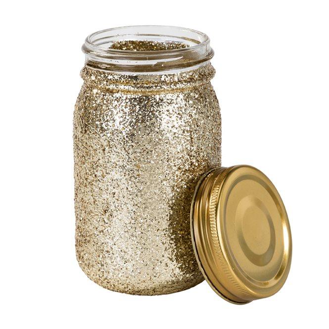 Frasco Vidro Glitter Dourado