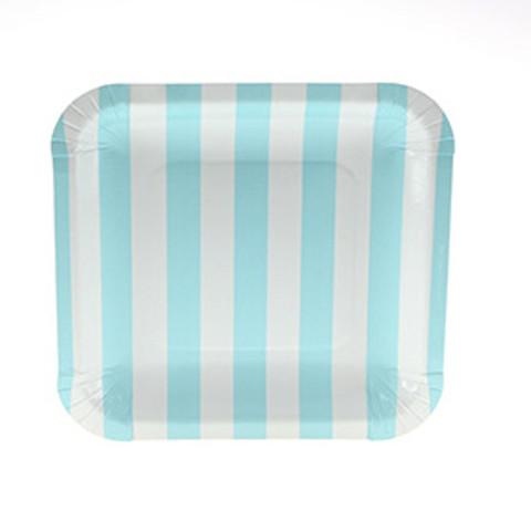 Pratos Azul Claro Riscas Quadrados