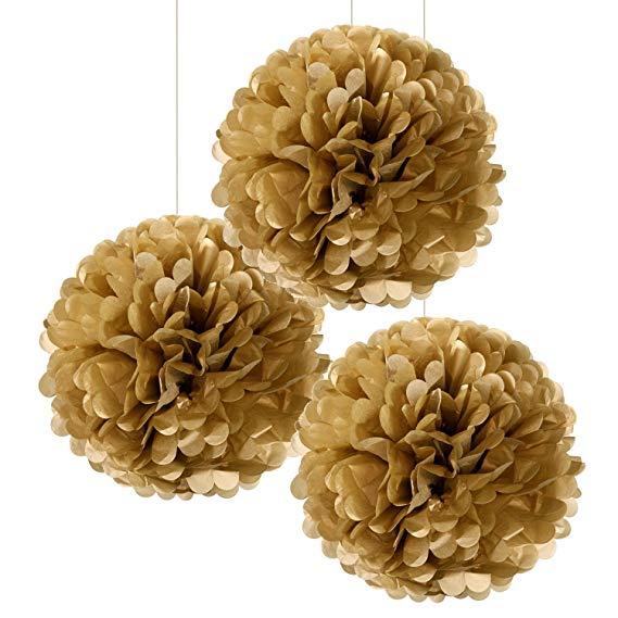 Conj. 3 Pompons Dourados