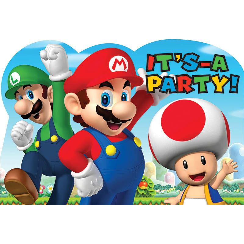 Convites Super Mário c/ Etiquetas