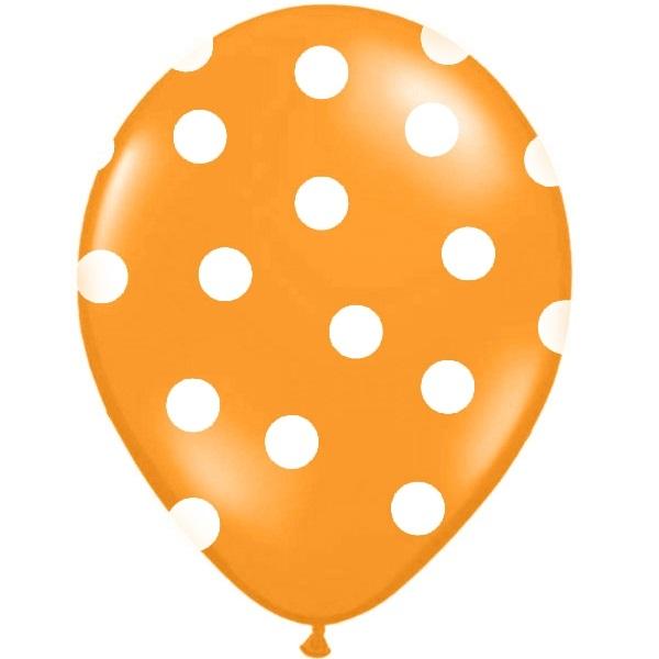 Conj. 6 Balões Bolinhas Laranja
