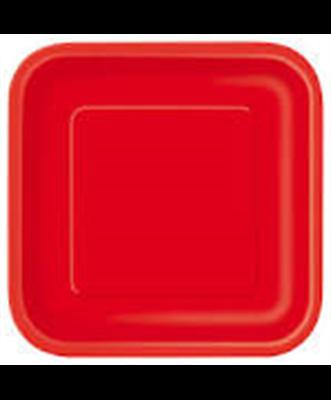 Pratos Vermelho Quadrados