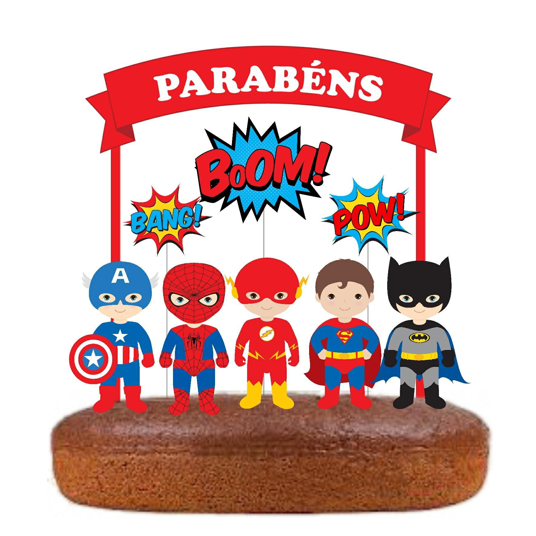 Topo Bolo Super Heróis Vermelho