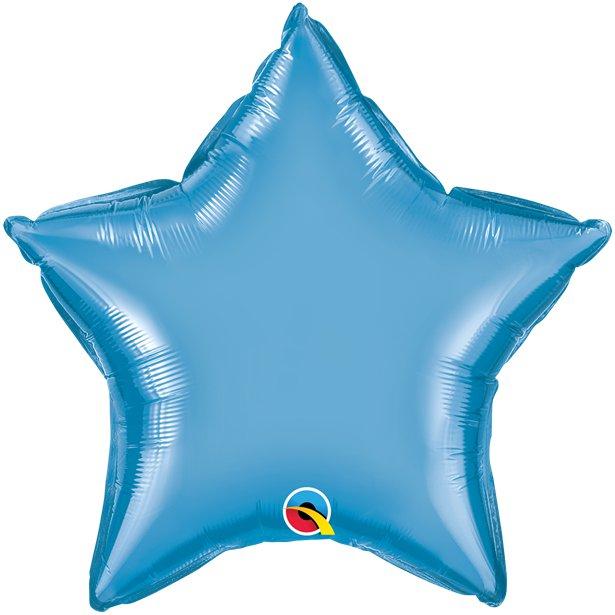 Balão Estrela Azul Cromado