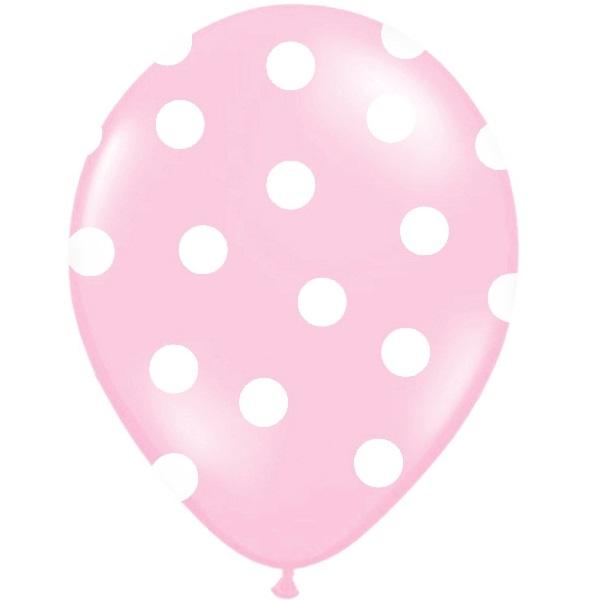 Conj. 6 Balões Bolinhas Rosa Claro