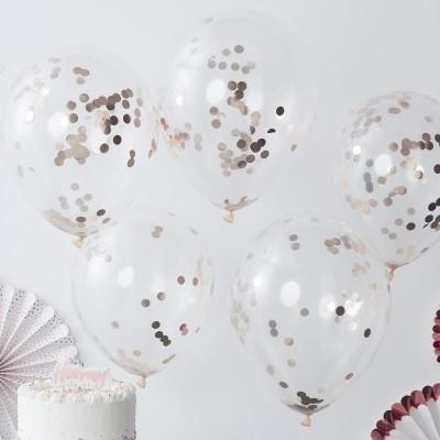 Conj. 5 Balões Transparentes com Confetis Rose Gold