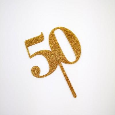 Topo Bolo 50 Dourado Glitter
