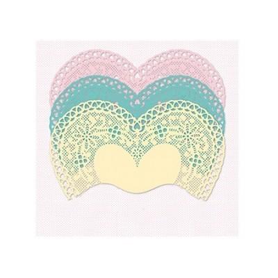 Conj. 30 Mini Naperons Corações Rosa, Verde e Amarelo
