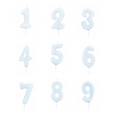 Vela Número Glitter Branca
