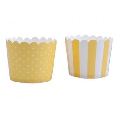Conj. 12 Formas Riscas e Bolinhas Amarelo