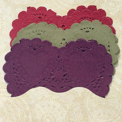 Conj. 30 Mini Naperons Corações Roxo, Verde e Vermelho