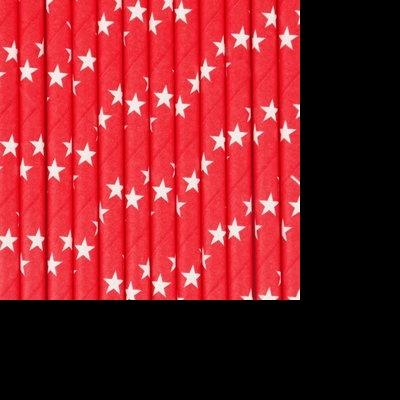Palhinhas Vermelho Estrelas Brancas -  Conj. 25