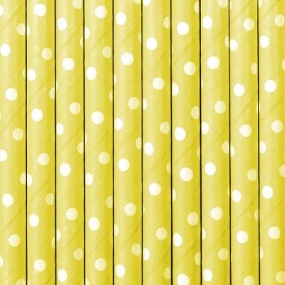 Palhinhas Amarelo Bolinhas Brancas -  Conj. 10