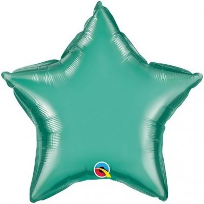 Balão Estrela Verde Cromado