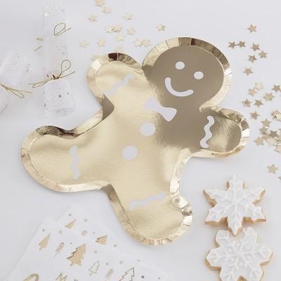 Pratos Boneco Gengibre Dourado