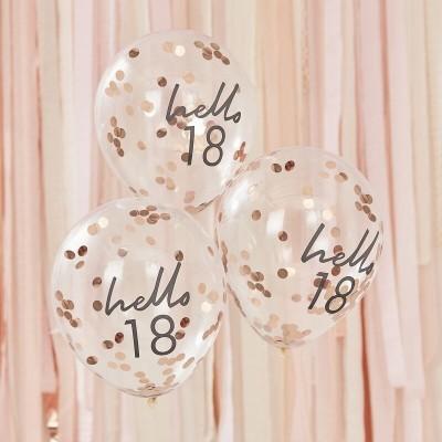 Conj. 5 Balões Confetis Hello 18