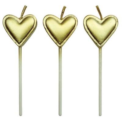 Conj. 8 Velas Coração Douradas