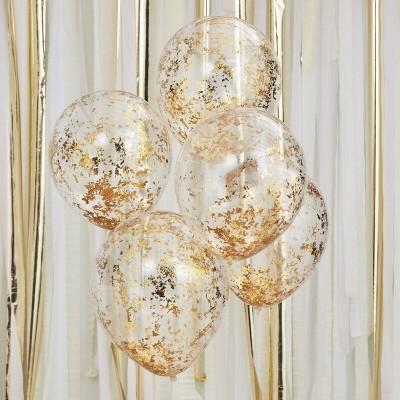 Conj. 5 Balões Confetis Dourada