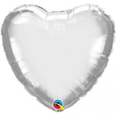 Balão Coração Prateado Cromado