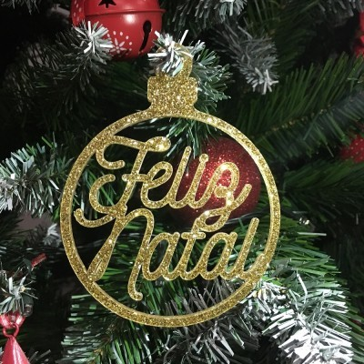 Bola Natal Glitter Feliz Natal