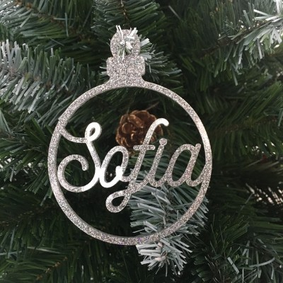 Bola Natal Recortada Prateada Glitter