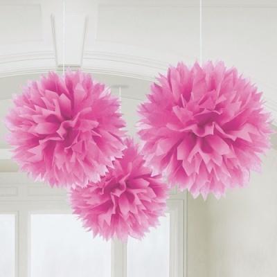 Conj. 3 Pompons Grandes Rosa