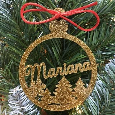 Bola Natal Recortada Dourada Pinheiro