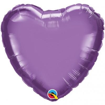 Balão Coração Lilás Cromado