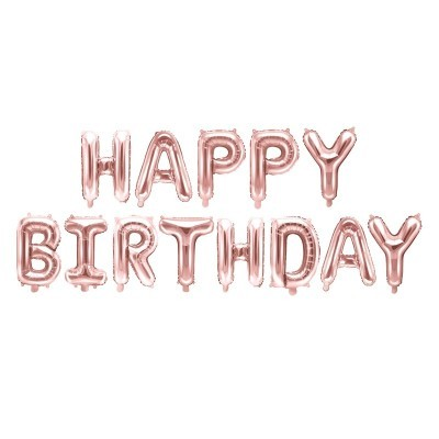 Balões Happy Birthday Rose Gold