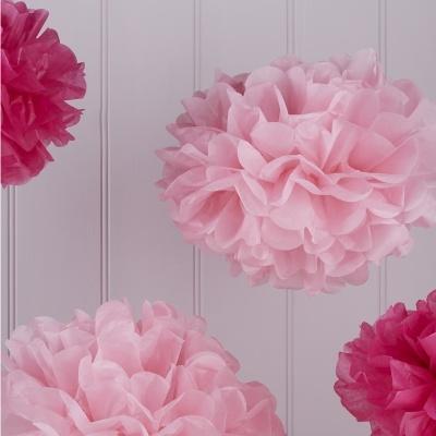 Conj. 5 Pompons Rosa e Rosa Claro