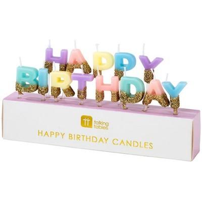 Velas Happy Birthday Rainbow Gold Pastel