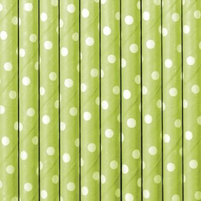 Palhinhas Verde Lima Bolinhas Brancas -  Conj. 10
