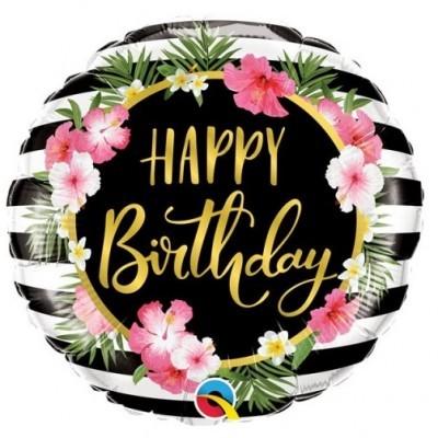 Tropical Flores Balão Happy Birthday