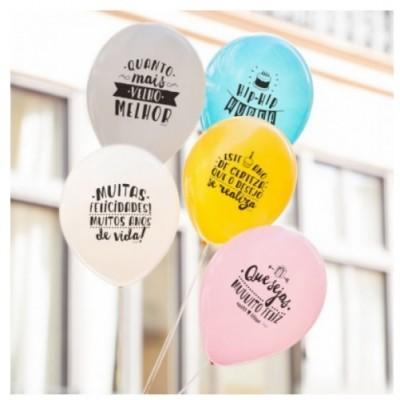 Conj. 10 Balões Aniversário Frases