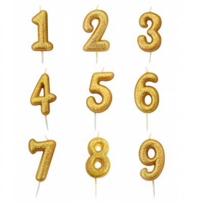 Vela Número Glitter Dourado