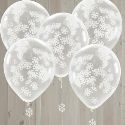 Conj. 5 Transparentes com Confetis Flocos Neve