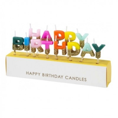Velas Happy Birthdays Rainbow Gold