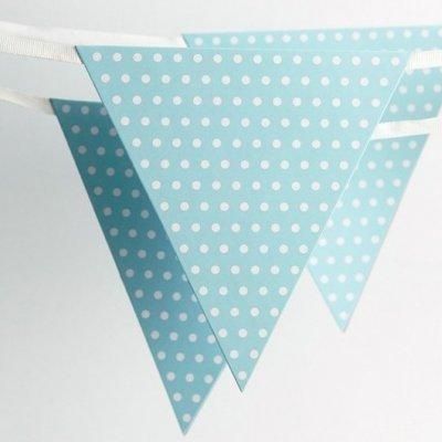 Bandeirolas Azul Claro Bolinhas