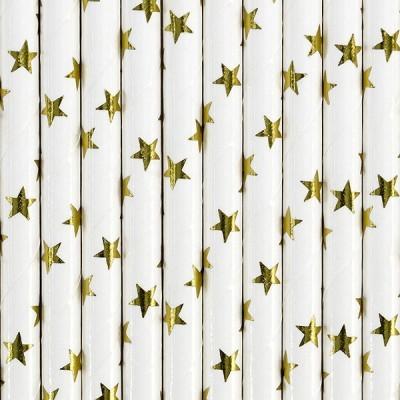 Palhinhas Dourado Estrelas Metálicas -  Conj. 10