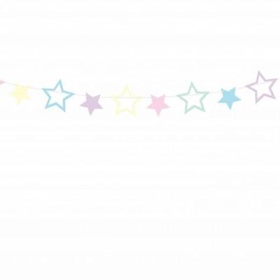 Grinalda Estrelas Cores Pastel