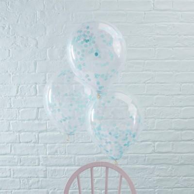 Conj. 5 Transparentes com Confetis Azul
