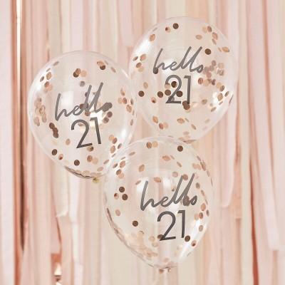 Conj. 5 Balões Confetis Hello 21