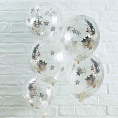 Conj. 5 Transparentes com Confetis Prateados Estrelas