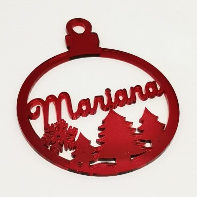 Bola Natal Recortada Vermelha Pinheiro